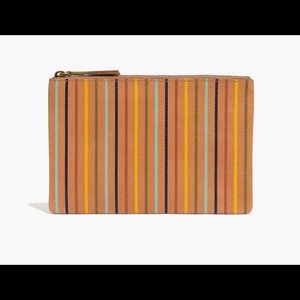 The Medium Leather Pouch Clutch: Rainbow Stripped